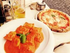 Cheers to the best ravioli and margherita pizza...